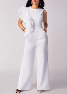 Flouncing Round Neck Sleeveless Pocket White Jumpsuit, free shipping worldwide at www.rosewe.com.