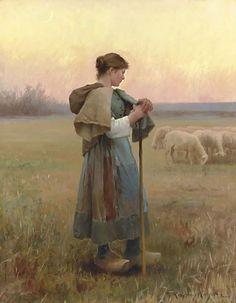 Daniel Ridgway Knight (American-born French genre painter, 1839-1924) The Young Shepherdess 1890