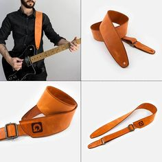Leather strap for guitar and bass - Italian artisan product