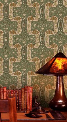 "Love this wallpaper! ""Celtic Knot"" Arts & Crafts-style wallpaper from Bradbury & Bradbury. Art Nouveau, Arts And Crafts Furniture, Furniture Decor, Craftsman Style, Craftsman Decor, Craftsman Homes, D House, Art And Craft Design, Craftsman Bungalows"