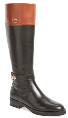 color blocked leather Coach riding boots