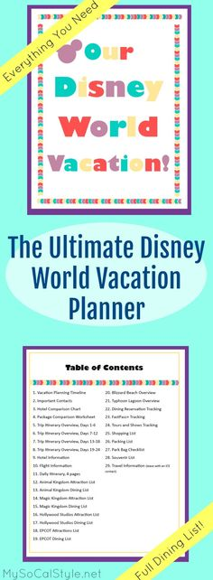 This is the PERFECT planning tool for a Disney World vacation! 32 pages of planning templates and resources. Disney World Parks, Disney World Vacation, Disney World Resorts, Disney Cruise, Disney Vacations, Disney Travel, Disney On A Budget, Disney Planning, Disney Tips
