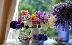 Edycja Tapety: Bukiety, Kwiatów, Bratek, Frezja, Glicynia