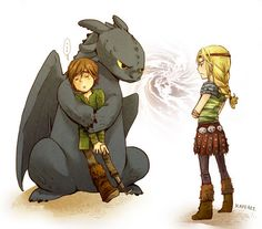 Toothless not willing to share Hiccup with Astrid. Come on, Toothless! You have to share him! (not disney, but ya know) Hiccup And Toothless, Hiccup And Astrid, Toothless Dragon, Httyd Dragons, Cute Dragons, How To Train Dragon, How To Train Your, Disney Cartoons, Film Manga