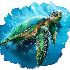 Diamond Painting Green Sea Turtle Kit Offered by Bonanza Marketplace. - Diamond Painting Green Sea Turtle Kit Offered by Bonanza Marketplace. Sea Turtle Painting, Sea Turtle Art, Sea Turtle Drawings, Seahorse Painting, Cute Turtles, Sea Turtles, Baby Turtles, Creation Art, Green Turtle