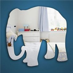 Ellie the Elephant Mirror, kids bedroom safety mirror with a jungle theme.