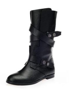 Leather Strap Ankle Boots