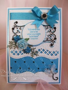 Christina's beautiful card. Flowers, Ribbons and Pearls: A2 Bracket Borders One ..