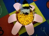 Activity constructing a bee then showing how pollination works using candy as nectar found on the bottom of a bowl filled with cheese puffs. Blog Hoppin'