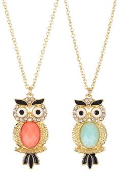 Crystal Owl Necklace Set. I should have a whole board just dedicated to my love of owls. And another for notebooks.
