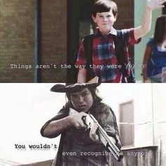 The Walking Dead- Carl Grimes + In the End by Linkin Park Walking Dead Funny, Walking Dead Zombies, Carl The Walking Dead, The Walk Dead, Walking Dead Quotes, Carl Grimes, Judith Grimes, Chandler Riggs, Best Tv Shows