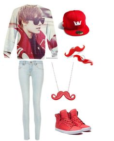 Belieber outfit--cute, but don't like the mustaches lol
