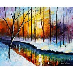 Leonid Afremov painting, snow and wooded golden sunset with colorful reflections.