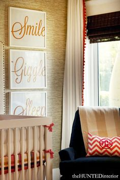 Chic Nursery designed by Kristin Jackson | The Hunted Interior DIY Artwork | Grasscloth Wall | Pom Pom Drapery