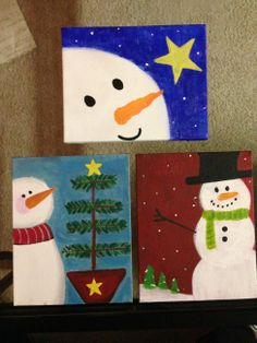 http://adashofeverythingg.wordpress.com Snowmen Paintings for the holidays!