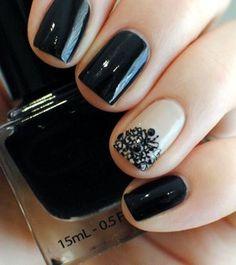Black & beige nails <3 <3 <3