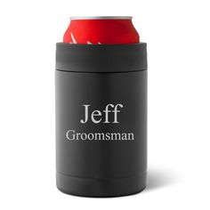 Personalized Matte Black Double Wall Insulated Can Koozie Wedding Attendant Giftsgroomsman