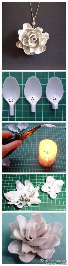 Melted plastic spoon rose tutorial. I did this and its so fun! Just buy lots of spoons because they don't all turn out right, and you'll burn a lot of fingers if you burn the spoons!