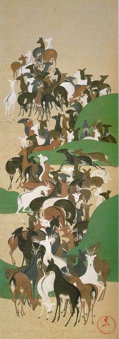 Deer scroll. 群鹿図(寿老寿鶴・群鹿・群鶴図) 鈴木其一 Suzuki Kiitsu. Japanese hanging scroll. Nineteenth century.