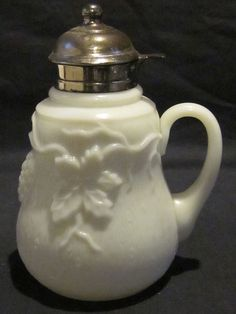 Victorian milk glass grape and leaf syrup pitcher US $99.99