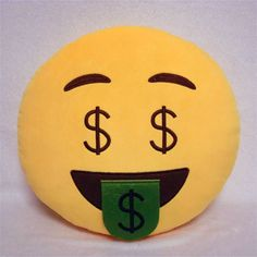 Money-Mouth Face Emoji Pillow - A face with a bank note showing instead of a tongue, and dollar signs instead of eyes. Indicates a love of money, or a feeling of wealth.  This emoji cushion is also known as:  Dollar Sign Eyes Emoji Money Face Emoji Rich Emoj  FREE WORLDWIDE SHIPPING!