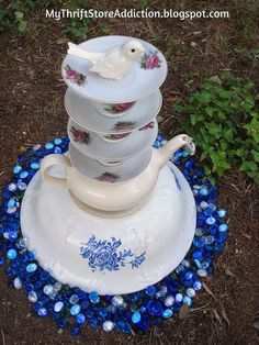 garden ideas teacup tower art, crafts, gardening, repurposing upcycling