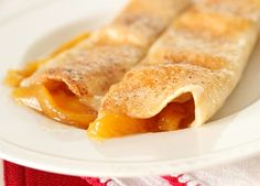 peach cobbler enchiladas: would be good with apples, strawberries, blackberries, or pineapple as well.