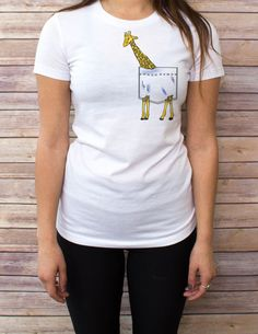 Giraffe Pocket Tee  Some shirt styles run small.. PLEASE VIEW SHIRT SIZES BEFORE PURCHASING: https://www.etsy.com/listing/216514245/womens-shirt-style-and-sizes  NOTE: SWEATSHIRT AND HOODIE SIZES ARE UNISEX  Bee's Pocket Tees are cotton pocketless shirts with custom designs that create clever and imaginative virtual pockets! With over 40 original, hand-drawn designs, be sure to check out our entire shop to find the perfect pocket tee for you, or a unique gift for anyone!  Need to see a size…