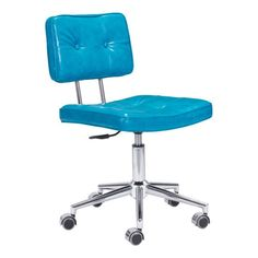 Retro and simple, the Series office chair will have you seated in style as the plush seat and separate back are accented with button details to soft leatherette fabric on adjustable height chromed steel star base. Easy gliding casters offer easy moving on any surface. Color options include black, white or neon blue leatherette.