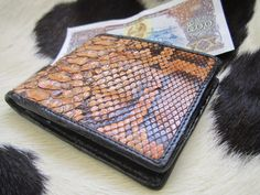 Python Burmese  leather skin  Bifold wallet    free by Ossora