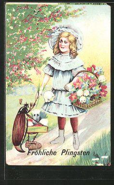 schöne AK Fröhliche Pfingsten, Mädchen mit Blumen und Maikäfer in Sammeln & Seltenes, Ansichtskarten, Motive | eBay