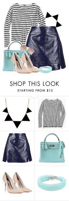 . by lunalobina on Polyvore featuring moda, J.Crew, Topshop, Sophia Webster, Hermès, Swarovski and H&M