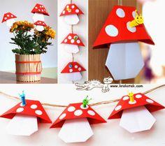 Παίζουμε μαζί: Πώς να φτιάξετε χάρτινα μανιτάρια και να διακοσμήσετε το παιδικό δωμάτιο.