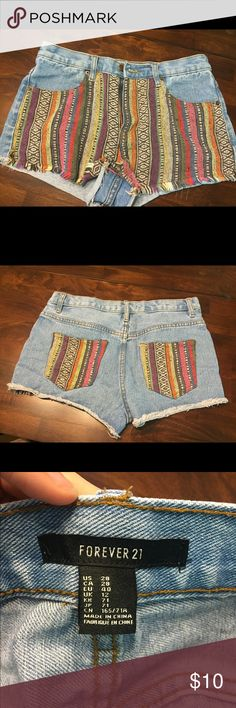 Forever 21 Aztec patched high waist shorts Like new, so comfy and very flattering high waist shorts! Size 28 waist Forever 21 Shorts Jean Shorts