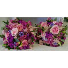 pink, purple & berry bridesmaids flowers