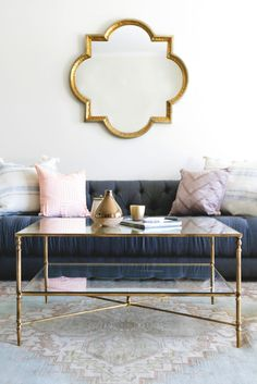 Nicolina Coffee Table by Lulu & Georgia! Enjoy our Nicolina Coffee Table as the crowning jewel to your living room. It's classy, feminine, reflective and delicate with the mirrored top, glass storage shelf, and gold leaf finish. Glam Living Room, Living Room Update, Living Room White, Formal Living Rooms, Living Room Interior, Living Room Furniture, Living Room Decor, Living Spaces, Living Room Inspiration