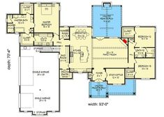Hill Country House Plan with Future Space - 68487VR floor plan - Main Level