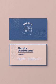 Creative and Professional Business Card Design and Corporate Design Inspiration and ideas for Branding and Logo Design Concept for a Surf Fashion Brand Called Brody's Surf Apparel, to see the full project check the link. Business Cards Layout, Professional Business Card Design, Printable Business Cards, Custom Business Cards, Business Design, Best Business Cards, Creative Business Cards, Fashion Business Cards, Modern Business Cards