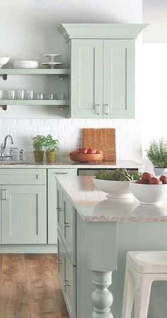 Uplifting Kitchen Remodeling Choosing Your New Kitchen Cabinets Ideas. Delightful Kitchen Remodeling Choosing Your New Kitchen Cabinets Ideas. Green Kitchen Cabinets, Farmhouse Kitchen Cabinets, Kitchen Cabinet Colors, Painting Kitchen Cabinets, Kitchen Paint, New Kitchen, Vintage Kitchen, Farmhouse Kitchens, Kitchen Rustic