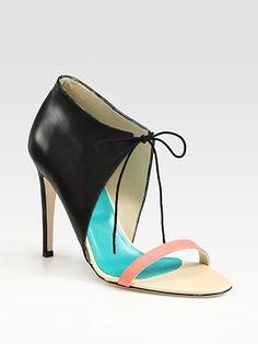 Tibi  Stella Lace-Up Leather Colorblock Sandals #shoes #style #pinterest #fashion #couture #hautecouture #designer #socialmedia #socialnetworks