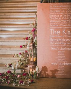 """See the """"An Oversized Program"""" in our A Modern, Romantic Pink-and-Gray Destination Wedding in San Diego, California gallery"""