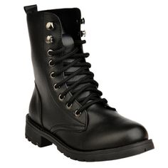 ****BLACK SIZE 38**** Metal Eyelet PU Leather Combat Boots
