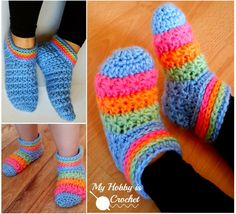 Crochet Starlight Slippers FREE Pattern in Child and Adult Sizes!