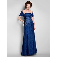 Trumpet/Mermaid Strapless Floor-length Lace Mother of the Bride Dress With A Wrap – USD $ 179.99