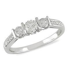 1/2 CT. T.W. Diamond Three Stone Ring in 10K White Gold - Zales $794
