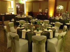 Only for the bands, no chair covers or chairs. Green Wedding Decorations, Centerpiece Decorations, Reception Decorations, Lime Green Weddings, Sage Green Wedding, Reception Seating, Wedding Reception, Wedding Venues, Mesas