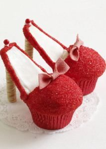 red high heel cupcake- cute idea for a Wizard of Oz party