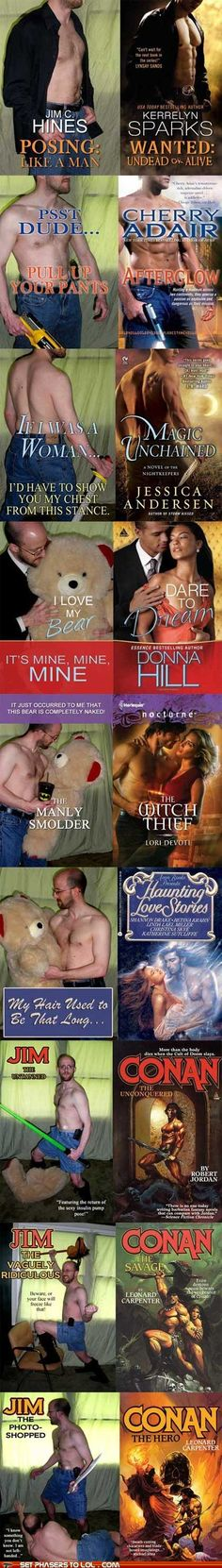 Very manly indeed.  Jim C. Hines recreates romance novel covers.