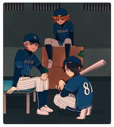this baseball AU tho All Anime, Me Me Me Anime, Anime Boys, Norman, Fanarts Anime, Manga Games, Neverland, Boy Or Girl, Fan Art