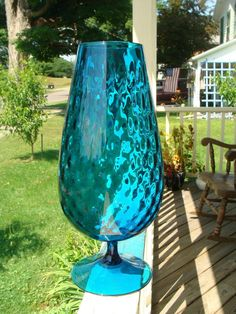 large size Empoli art glass vase with block optic pattern.    Measures 15-1/8 inches tall and 7 inches diameter with a 3-5/8 opening.    Brilliant